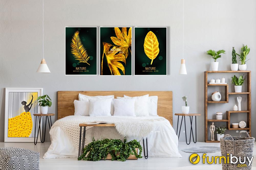 Tranh bộ canvas lá cây màu gold treo phòng ngủ hiện đại AmiA 1695