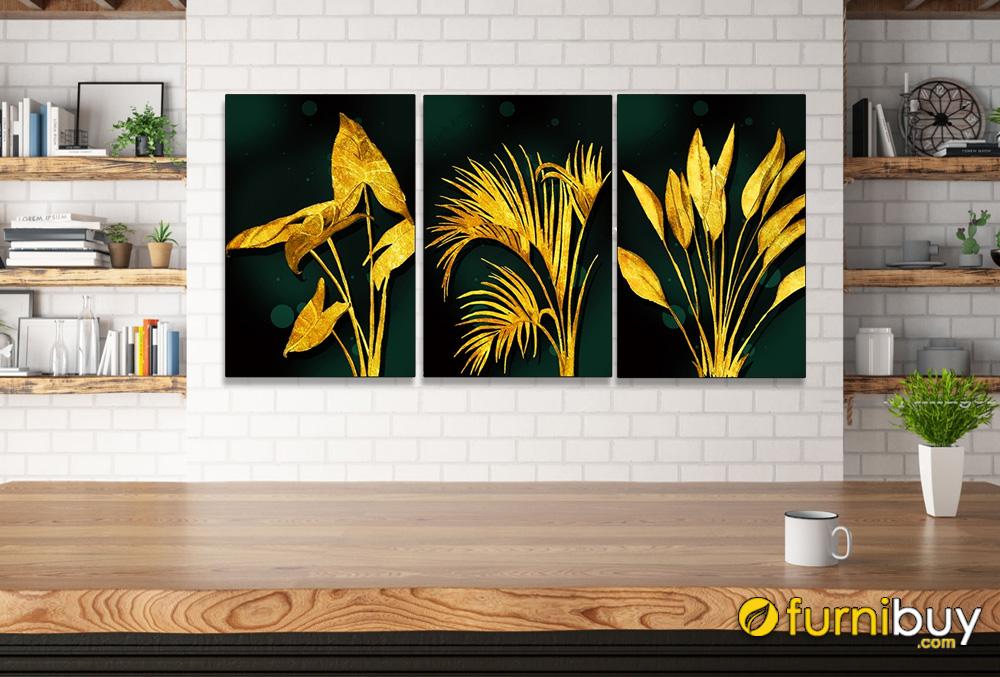 Tranh bộ lá cây màu vàng in canvas treo quán cafe hiện đại AmiA 919041