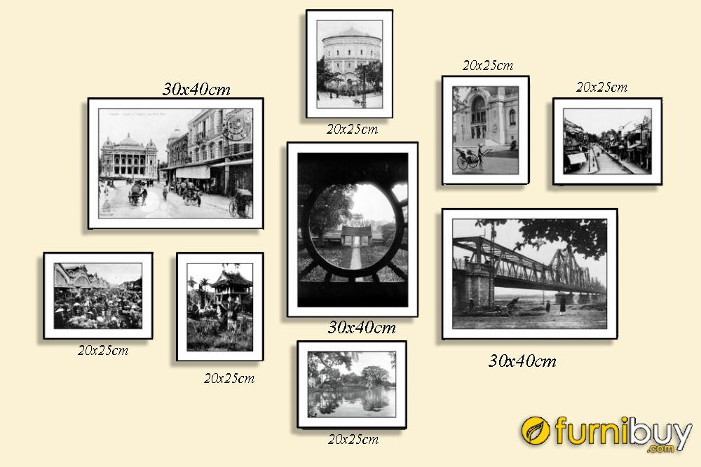 Tranh bộ phố cổ Hà Nội đen trắng AmiA 1790