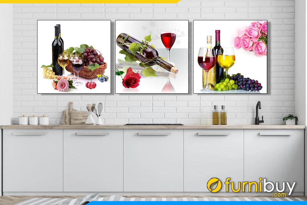 Tranh rượu nho trang trí phòng bếp hiện đại AmiA 1541