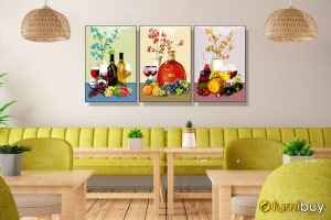 Tranh hoa quả và rượu vang treo phòng ăn, quán ăn hiện đại, sang trọng Amia 1725