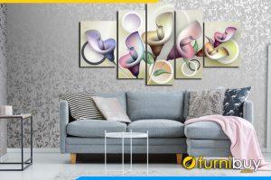 Tranh hoa rum ghép bộ khổ lớn trang trí trên ghế sofa phòng khách hiện đại AmiA 411