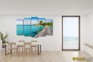Tranh trrang trí phòng ăn phong cảnh biển AmiA 1813