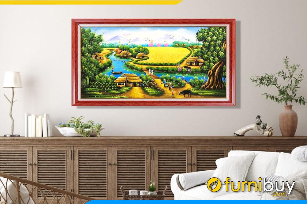 tranh sơn dầu đồng quê trang trí phòng khách Amia TSD 508