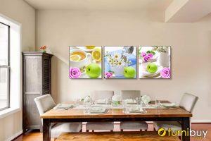Tranh treo nhà bếp bộ hoa quả tách trà bình hoa 3 tấm AmiA 1530