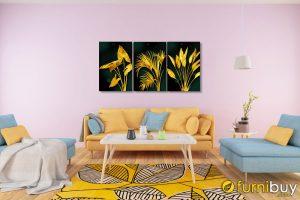 Tranh treo phòng khách hiện đại bộ canvas lá cây màu vàng AmiA 919041