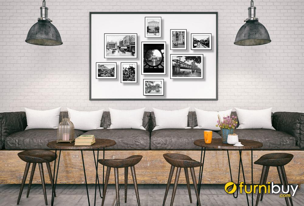 Tranh set đen trắng phố cổ Hà Nội nhiều tấm trang trí quán cafe amia 1790