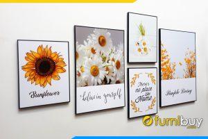 Tranh canvas 5 tam hoa cuc hoa mi huong duong treo tuong