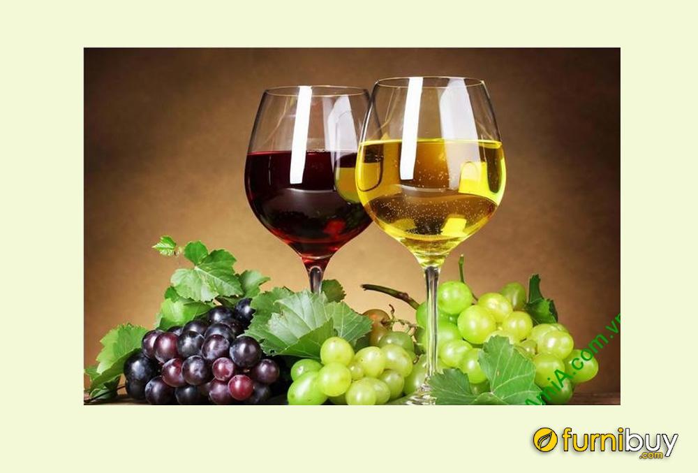 Hình ảnh mẫu tranh 1 tấm ly rượu vang và nho đẹp amia 659