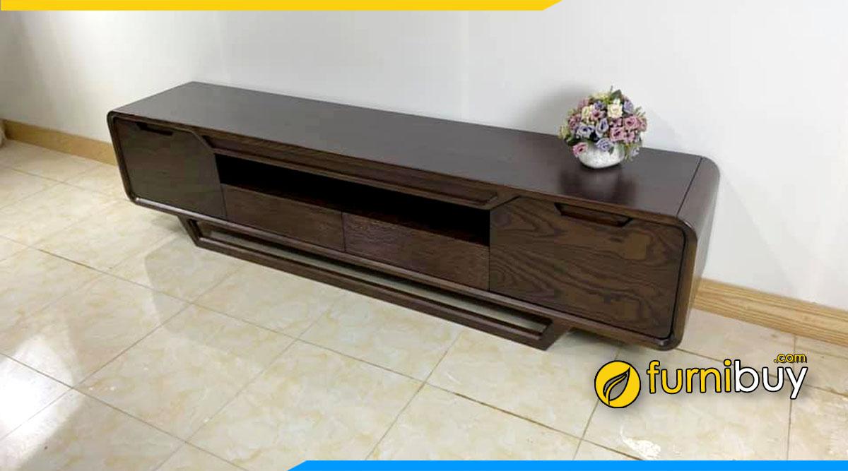 Hình ảnh mẫu kệ tv đẹp gỗ sồi phun sơn màu óc chó sang trọng