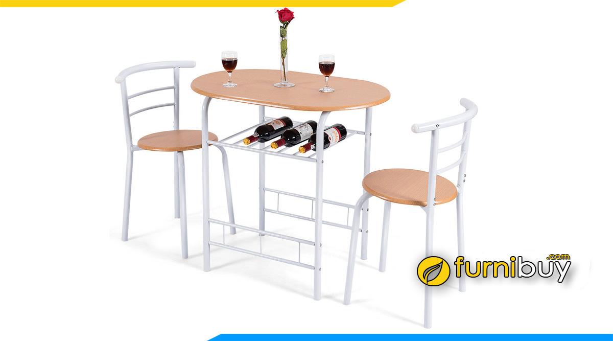 Hình ảnh bộ bàn ăn 2 ghế bầu dục chân sắt