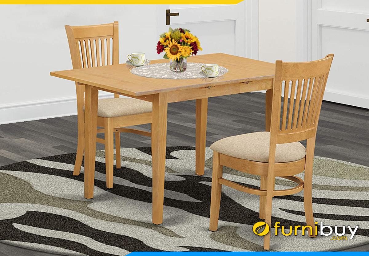 Hình ảnh bàn ăn 2 ghế chữ nhật đẹp giá rẻ