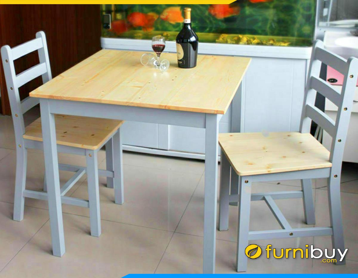 Hình ảnh bàn ăn 2 ghế gỗ cao su đẹp giá rẻ