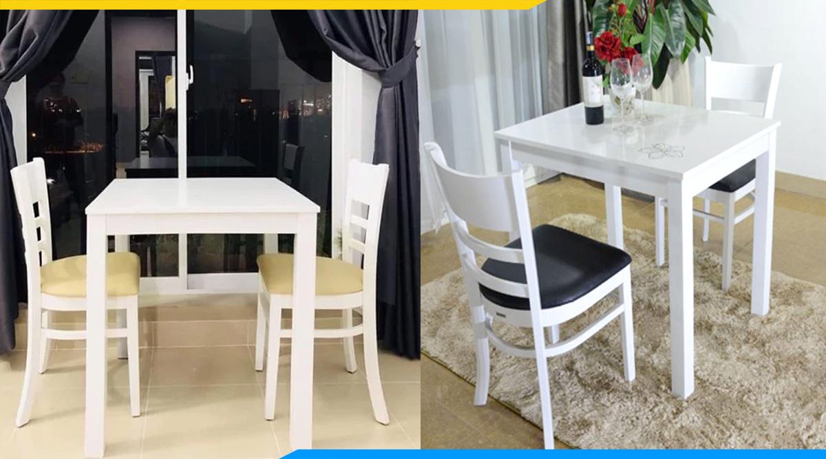 bàn ăn 2 ghế màu trắng giá rẻ dưới 5 triệu