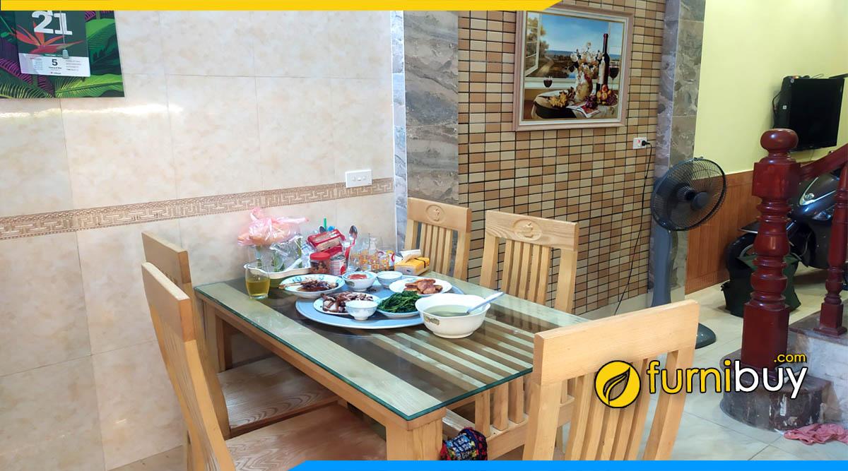 Hình ảnh bộ Bàn ăn 2 tầng gỗ sồi giá rẻ kết hợp tranh khung phòng bếp đẹp