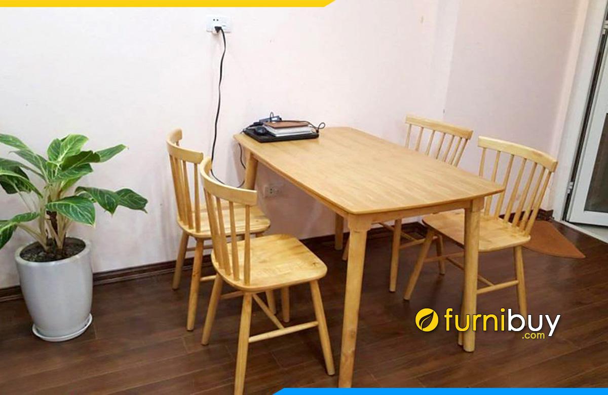 Hình ảnh Bộ bàn ăn 4 ghế giá rẻ gỗ Cao Su hiện đại