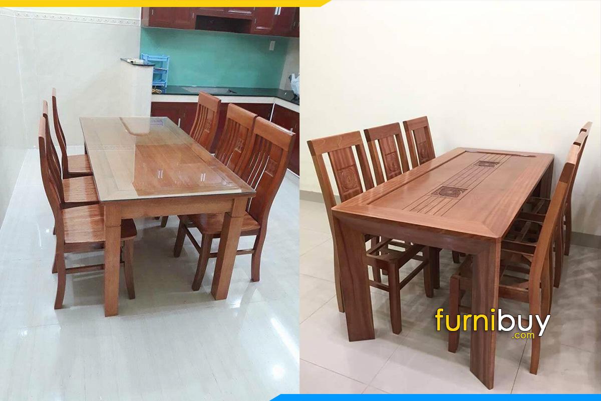 Hình ảnh mẫu bàn ăn 6 ghế gỗ Sồi giá rẻ