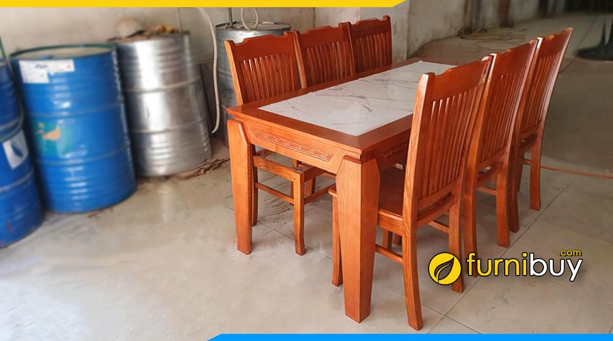 Hình ảnh Bộ bàn ăn 6 ghế gỗ xoan đào giá rẻ