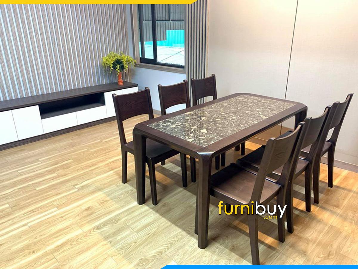 Hình ảnh mẫu bàn ăn 6 ghế mặt đá gỗ Sồi