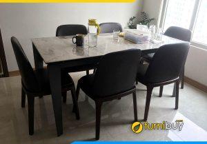 Hình ảnh Bộ bàn ăn 6 ghế mặt đá gỗ sồi màu óc chó đẹp BA046