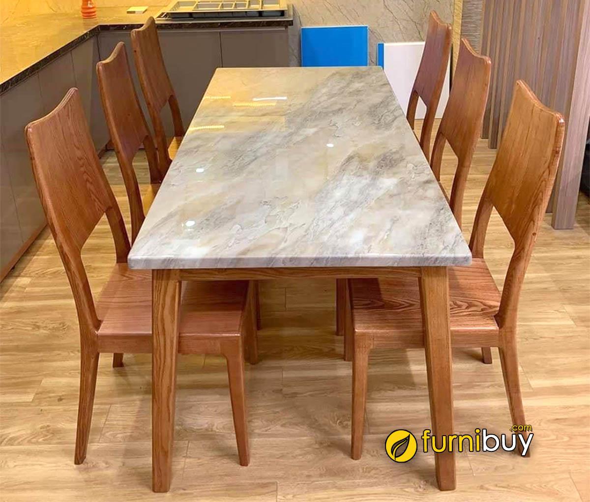 Hình ảnh Bộ bàn ăn 6 ghế mặt đá tự nhiên cao cấp