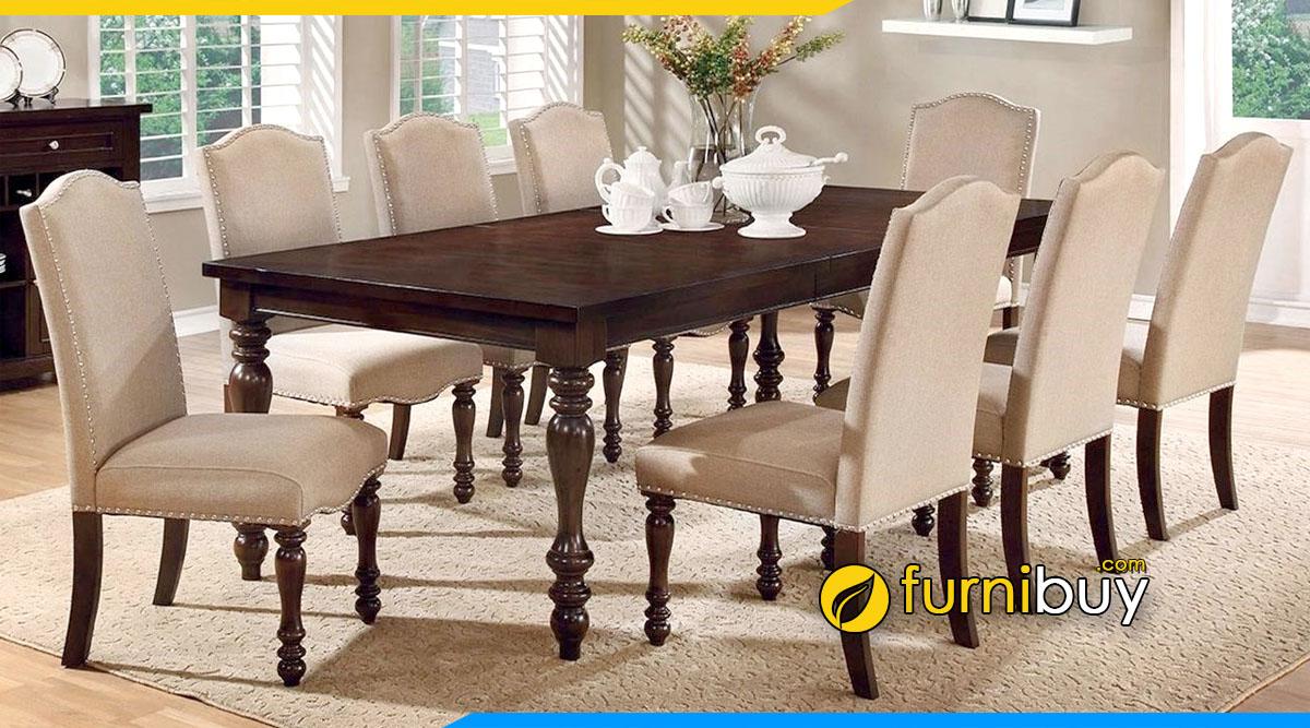 Hình ảnh Bộ bàn ăn 8 ghế tân cổ điển sang trọng, đẳng cấp
