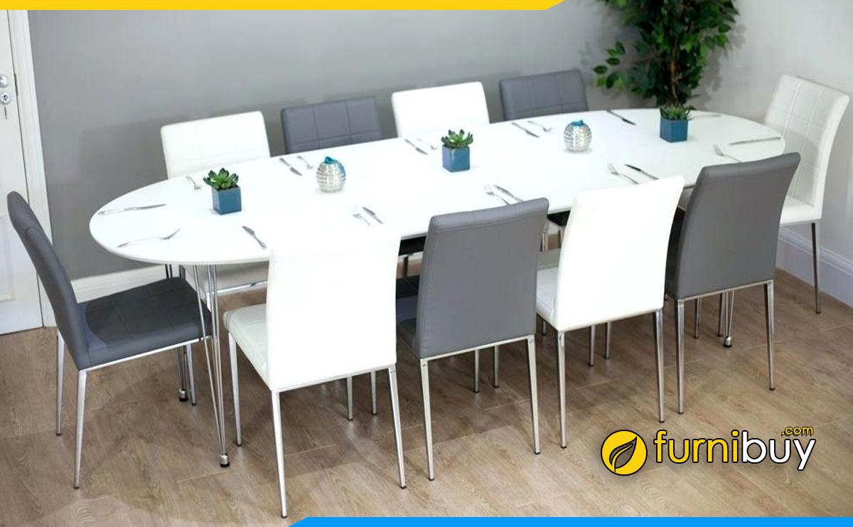 Hình ảnh Bộ bàn ăn bầu dục 10 ghế