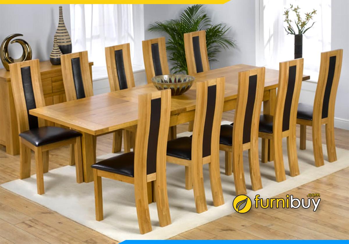 Hình ảnh Bộ bàn ăn gỗ sồi 10 ghế hiện đại