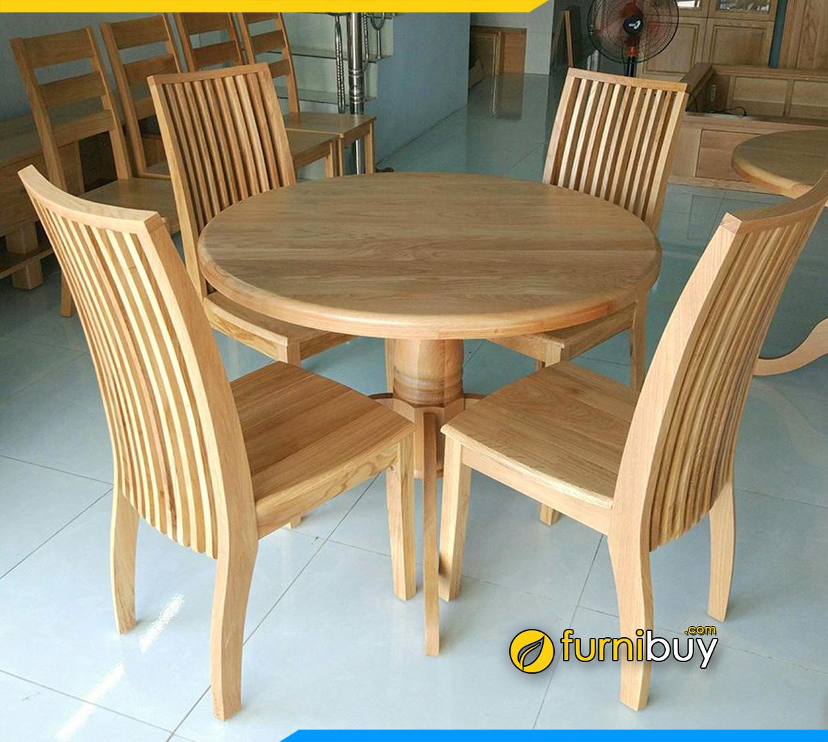 Hình ảnh Bộ bàn ăn gỗ sồi hình tròn 4 người đẹp cỡ nhỏ