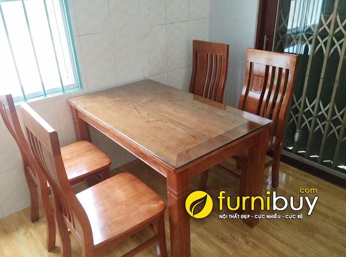 Hình ảnh bộ bàn ăn gỗ Sồi nga 4 ghế