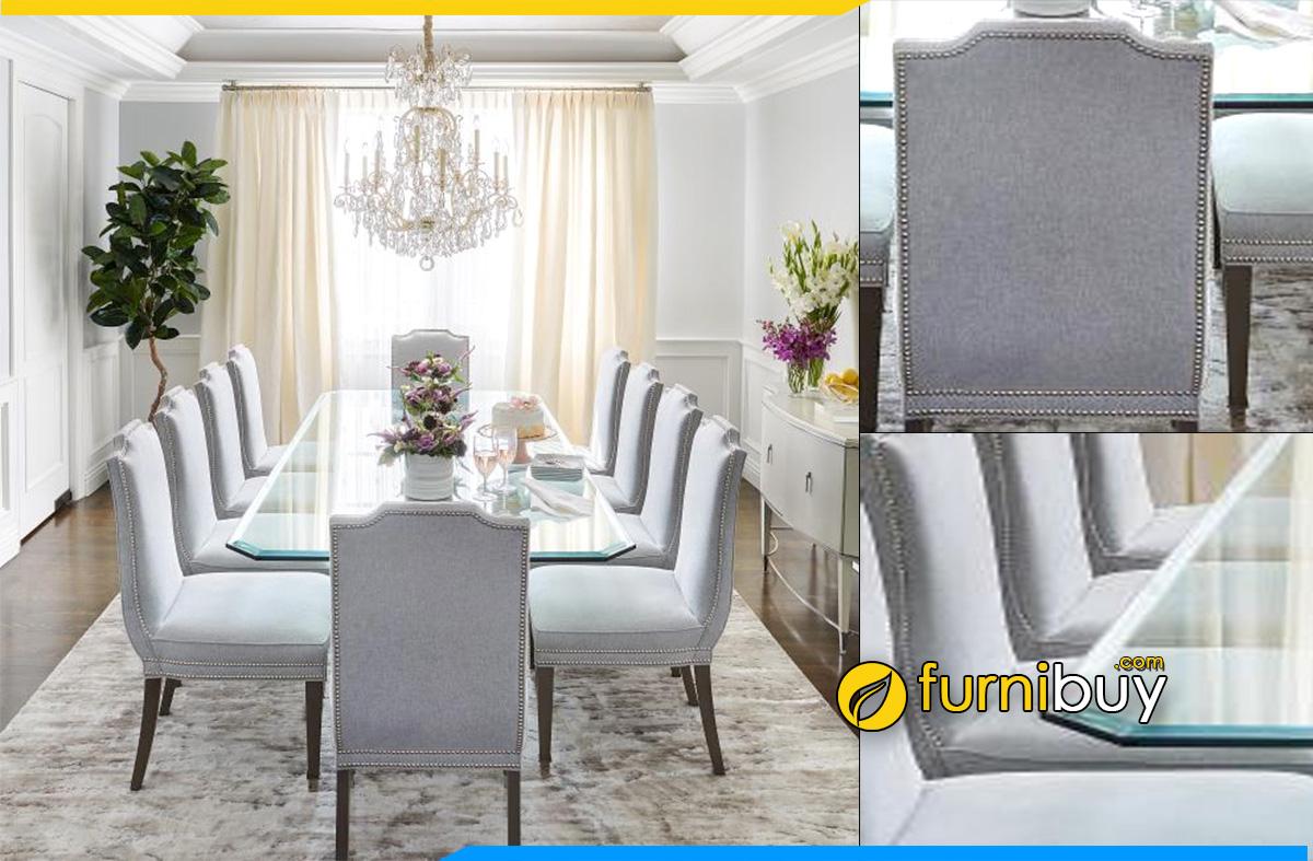 Hình ảnh Bộ bàn ăn mặt kính 10 ghế đẹp tân cổ điển