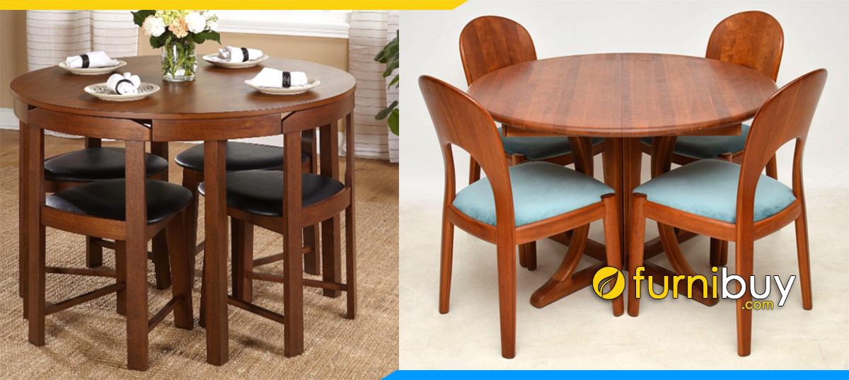Hình ảnh bộ bàn ăn tròn 4 ghế cho gia đình