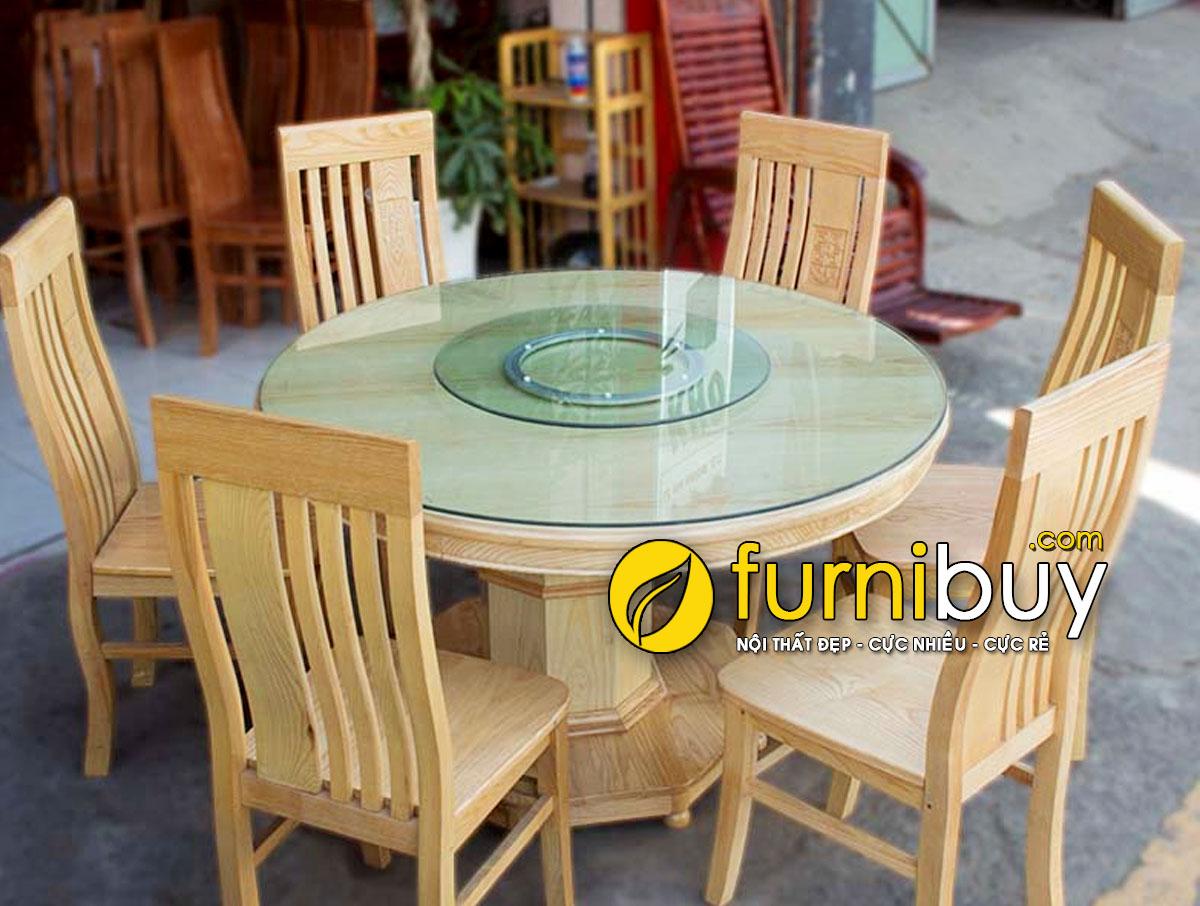 bàn ăn tròn xoay 10 ghế gỗ Sồi giá rẻ chụp tại cửa hàng nội thất Furnibuy