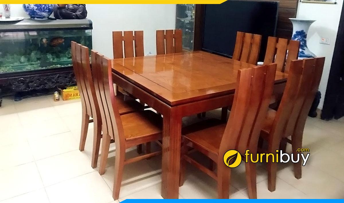 Hình ảnh Bộ bàn ăn vuông 8 ghế giá rẻ nhỏ gọn tiết kiệm diện tích