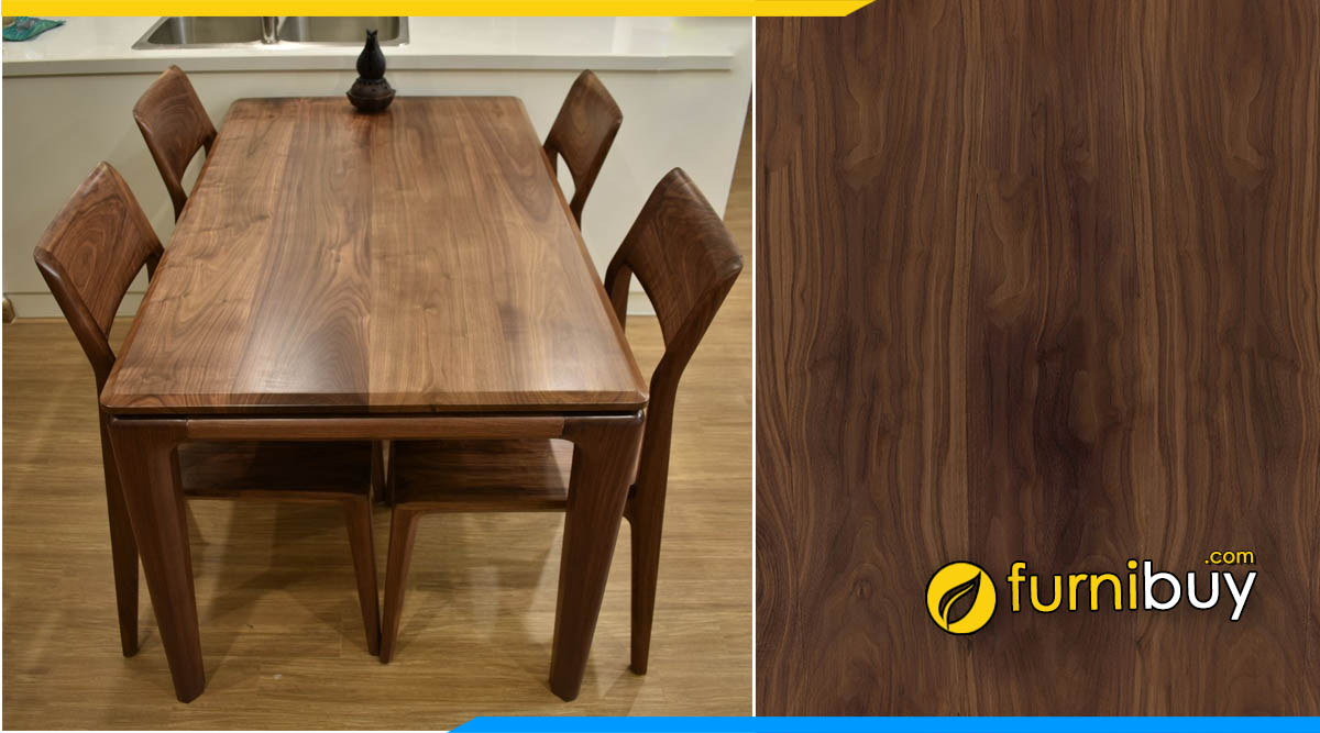 Hình ảnh bộ bàn ghế ăn gỗ óc chó cao cấp