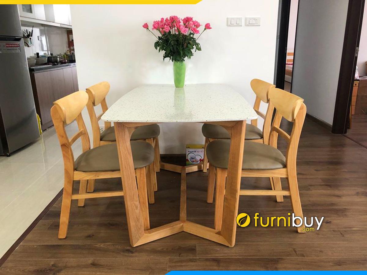 Hình ảnh bộ bàn ghế ăn gỗ Sồi tự nhiên mặt đá đẹp