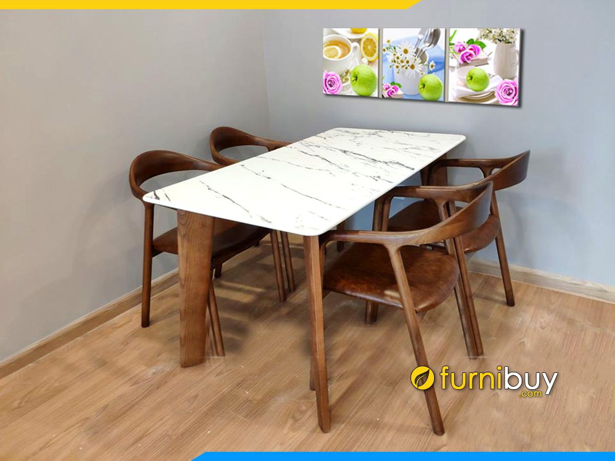 Hình ảnh bàn ăn mặt đá 4 ghế hiện đại giá rẻ đẹp