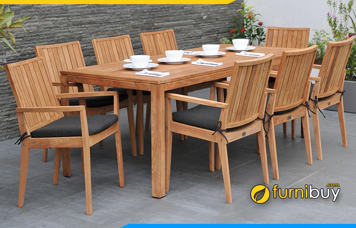 Hình ảnh Bộ bàn ghế quán ăn 8 chỗ ngồi đơn giản đẹp
