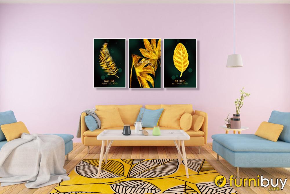 Tranh bộ lá cây canvas màu vàng treo phòng khách đẹp AmiA 1695