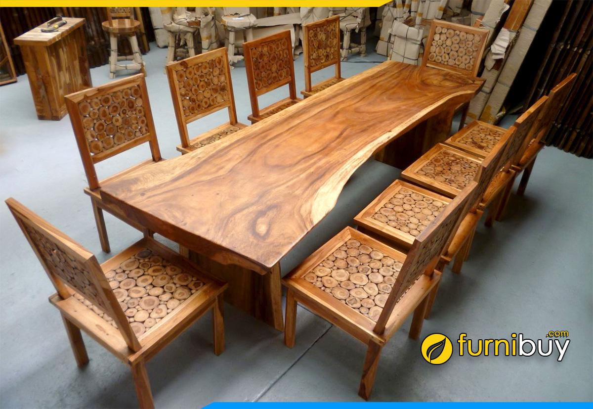 Hình ảnh Bộ bàn ăn 10 ghế gỗ tự nhiên