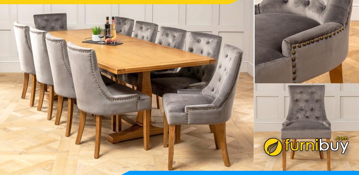 Hình ảnh Bộ bàn ăn 10 ghế nệm nỉ tân cổ điển