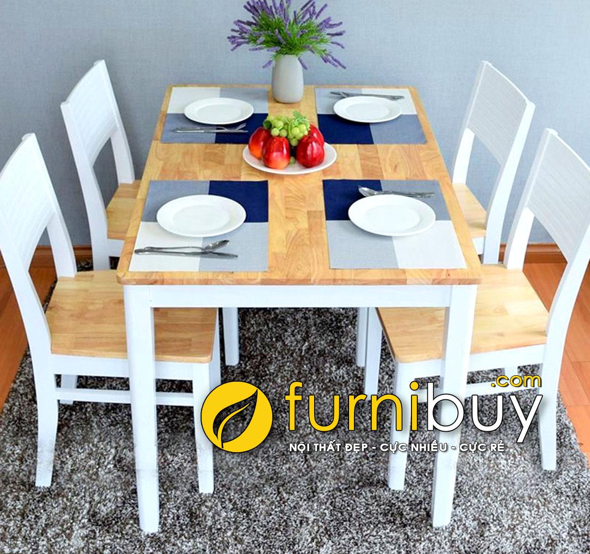 Bộ bàn ăn 4 chỗ hiện đại màu trắng BA021