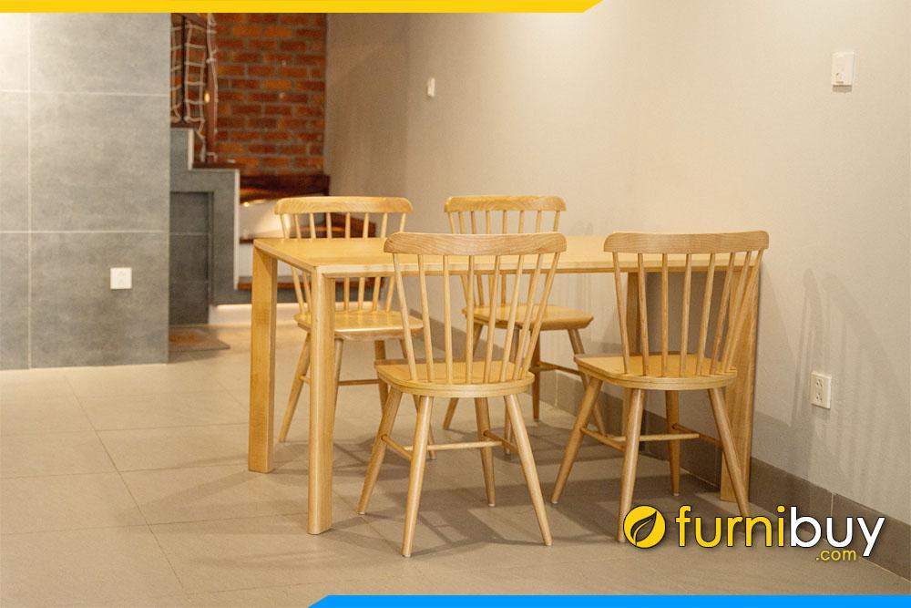 Hình ảnh Bộ bàn ăn 4 chỗ ngồi gỗ cao su kích thước 120cm
