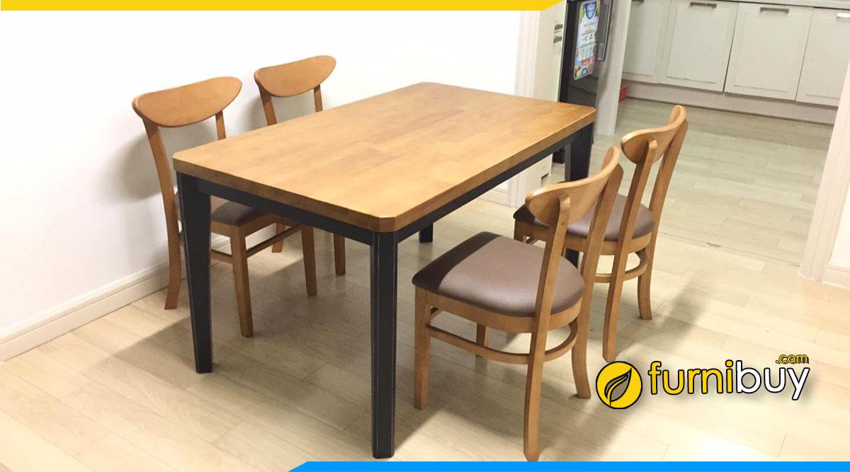 Hình ảnh Bộ bàn ăn 4 ghế chân sắt mặt gỗ đẹp