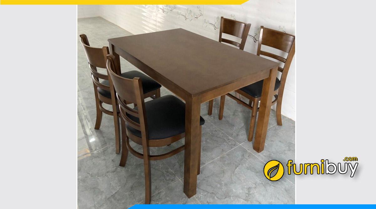 Hình ảnh Bộ bàn ăn 4 ghế gỗ Sồi màu óc chó Cabin giá rẻ