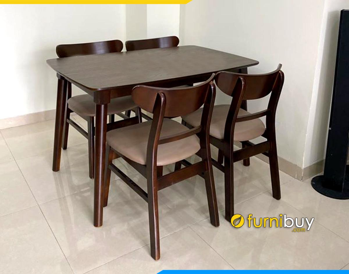 Hình ảnh bộ bàn ăn 4 ghế hiện đại phủ sơn màu óc chó