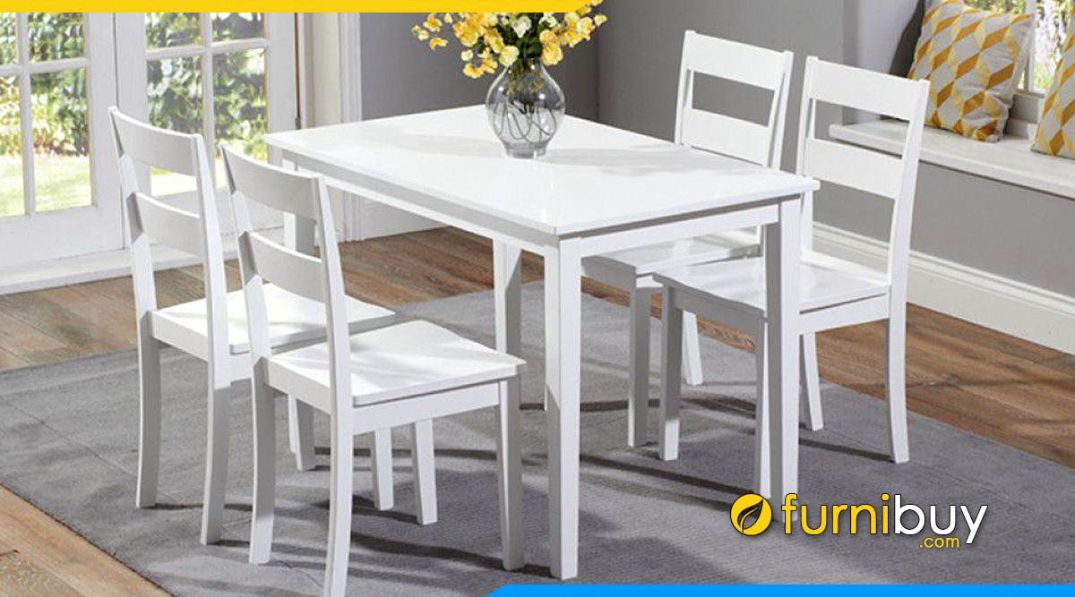 bộ bàn ăn 4 ghế màu trắng hiện đại đẹp