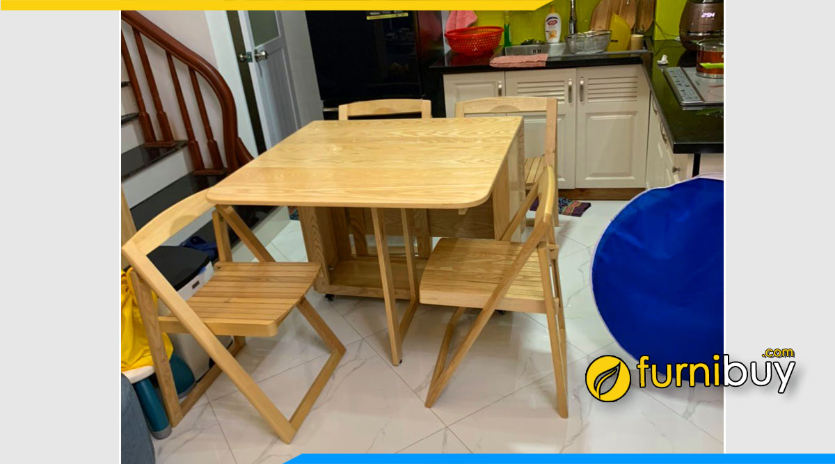 Hình ảnh Bộ bàn ăn 4 ghế nhỏ gọn cho căn hộ chung cư đẹp