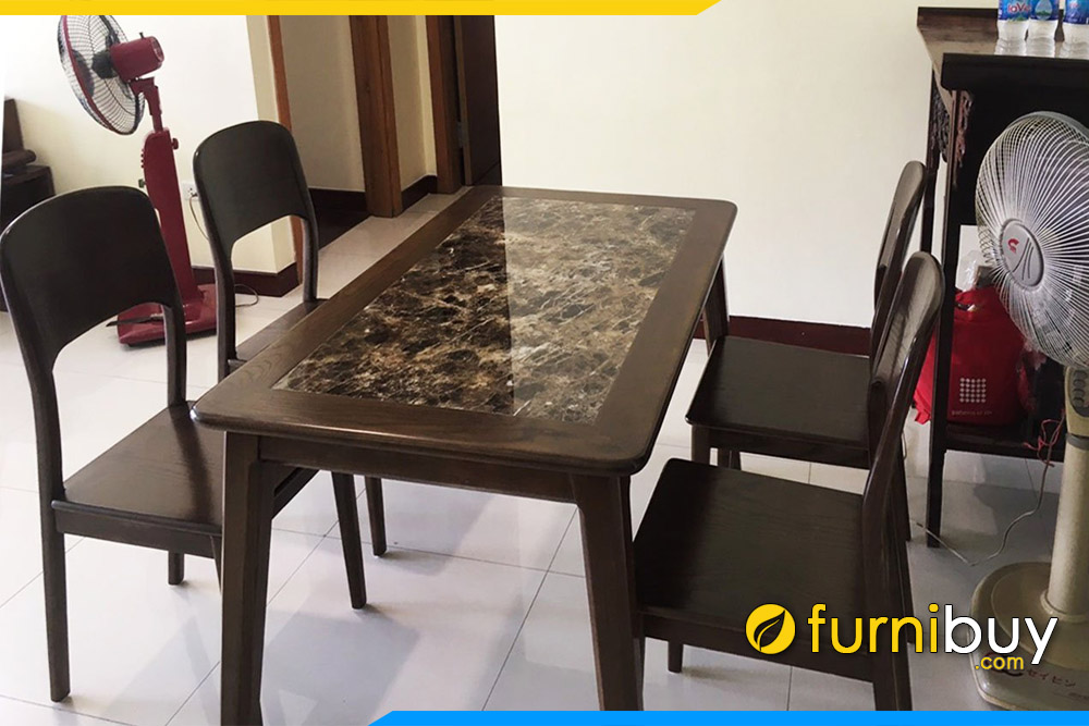 Bộ bàn ăn 4 ghế sơn PU màu óc chó tại CT2a Nam Cường Cổ Nhuế