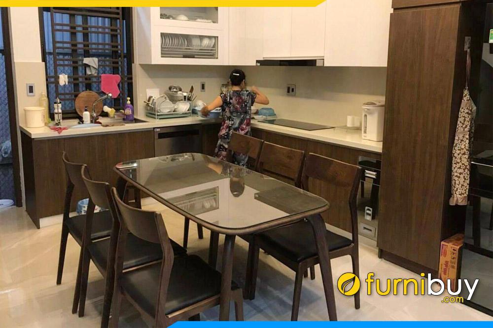 hình ảnh Bộ bàn ăn 6 ghế đẹp màu óc chó tại nhà cô Hoa ở Ecopart